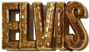 Elvis Letters Gold Glitter on Solid Brass Belt Buckle + display stand. Product code: RL8